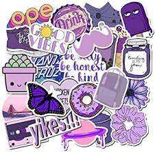 Amazon Com Stickers For Water Bottles Hydro Flask Sticker Pack Trendy Vsco Vinyl Aesthetic Stickers For Laptop Hydroflasks Skateboard Waterproof Cool Cute Sticker For Teens Girls Adult Purple Kitchen Dining