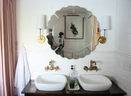how to hang a bathroom mirror over tile