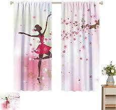 Amazon Com Mozenou Kids Room Room Darkening Curtains For Bedroom Ballet Butterfly Fairy Ballerina Princess Dancer Flowers Tree Branch Floral Girls Party Print Sound Asleep Room Curtains W63 X L72 Home Kitchen