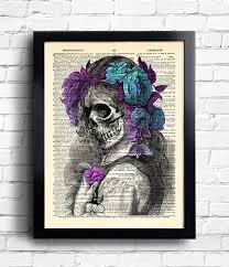 Skeleton Lady Flowers Print Anatomy Skull Flower Poster Etsy