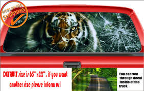 W1065 Tiger Broken Glass Screen Car Decal Sticker Rear Window Truck Suv Wrap Van For Sale Online Ebay