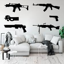 Set Of 6 Guns Wall Decal Kids Room Boy Room Ak 47 Weapon Army Solider Military Wall Sticker Bedroom Play Room Vinyl Home Decor Wall Stickers Aliexpress