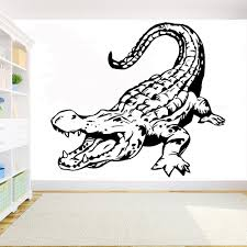 Alligator Wall Decal Crocodile Vinyl Stickers Home Decor Animal Wall Mural Bedroom Wall Art Murals Removable Diy Sticker Y186 Wall Stickers Aliexpress
