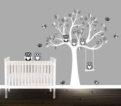 Black And Grey Owl Wall Decals Nursery Tree Patterns Nursery Decal Nurse Nursery Wall Decals Tree Vinyl Wall Decals Nursery Nursery Wall Stickers