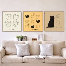 Kawaii Cartoon Cat Canvas Art Animal Pictures Kids Room Home Decor Poster Print Ebay