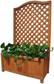 Gr8 Garden Rectangular Wooden Planter With Lattice For Vines Garden Climbing Flower Plant Pot Box Garden Patio Wood Trellis Panel Amazon Co Uk Garden Outdoors