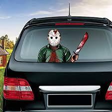 Amazon Com Miysneirn Halloween Rear Wiper Decals Jason Mask With Machete Waving Arm Wiper 3d Horror Rear Window Wiper Sticker Vinyl Car Decals Halloween Scary Rear Wiper Vehicle Tag Decor Automotive
