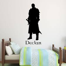 Amazon Com Personalized Medieval Knight Wall Decal Warrior Standing Guard With Sword Kid S Room Decor For Boys Handmade