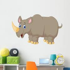 Cute Rhino Cartoon Wall Decal Wallmonkeys Com