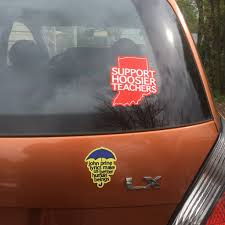 Indiana Red For Ed Window Cling Support Hoosier Teachers Badkneests