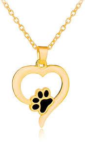 golden little dog paw love heart charm