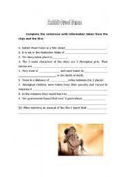 English Worksheet Rabbit Proof Fence Worksheet Worksheets School Work Fences Movie