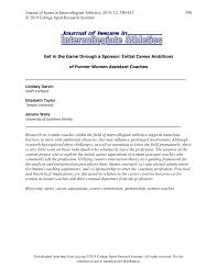 PDF) Get in the game through a sponsor: Initial career ambitions of former  women assistant coaches