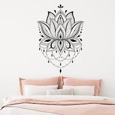 Lotus Wall Sticker Boho Vinyl Wall Decar Mandala Wall Decols Yoga Studio Decals Home Room Sticker Decal Lotus Wall Decal G49 Wall Stickers Aliexpress
