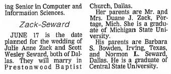 Julie Anne Zack and Scott Wesley Seward wedding - Newspapers.com