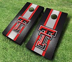Amazon Com Texas Tech Red Raiders Striped Themed Cornhole Wraps Board Set Bean Bag Toss 8 Aca Regulation Bags Made In The Usa Sports Outdoors
