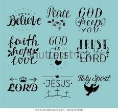 set hand lettering christian quotes religion stock image