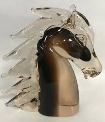 9 glass horse head by murano brown to
