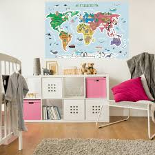 The Map Of The World Fabric Sticker Peel And Stick Removable World Wa Royalwallskins