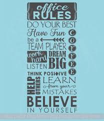 Office Rules Believe In Yourself Vinyl Art Wall Sticker Decals Work Sayings
