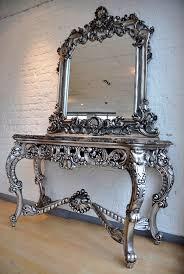 console w mirror antique silver