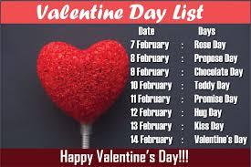 valentine s week list dates schedule love day