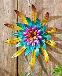 Amazon Com Gold Indoor Outdoor Metal Garden Wall Flower Sculpture Colorful Garden Yard Fence Art Kitchen Dining