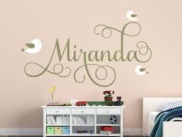 Personalized Name Decal With Birds Nursery Decor Bird Decal Etsy