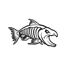 Printed Vinyl Aggressive Salmon Fish Skeleton Stickers Factory