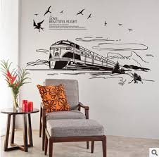 The Scenery Out Of The Train Wall Art Mural Decor Sticker Flying Birds Clouds Train Railway Track Trees Road Wallpaper Applique Road Wallpaper Wall Stickers Scenerybird Sticker Aliexpress
