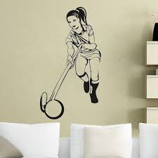 Girl Player Wall Stickers Hockey Wall Decals Hollow Out Removable Sport Art Murals Living Room Bedroom Wallpaper Wall Sticker Hockey Wall Decalswall Sticker Aliexpress