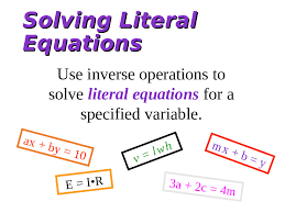 solving literal equations mrs petway