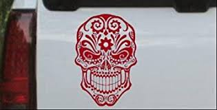 Amazon Com Rad Dezigns Tattoo Sugar Skull Swirl Skulls Car Or Truck Window Laptop Decal Sticker Red 6in X 4 1in Automotive