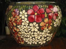 large flower pot mosaic flower pots