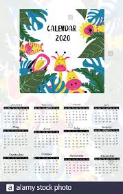 Calendar 2020 Children Tropical Style With Funny Cute Animals Zebra Giraffe And Hippo Characters Poster For The Kids Room Stock Vector Image Art Alamy