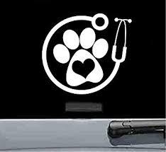 Amazon Com Js Artworks Vet Paw Stethoscope Vinyl Decal Sticker White Automotive
