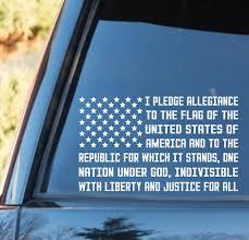 American Flag Pledge Of Allegiance Vinyl Decal Truck Window Usa Flag Decal Ebay