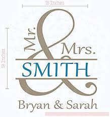 Wall Decor Plus More Mr Mrs Wall Vinyl Decals Lettering Sticker Decor Personalized With Names And Last Name Wedding Gift Art Amazon Com