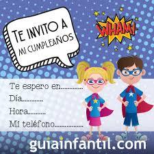 Invitaciones Infantiles Para Cumpleanos Con Dibujos De Comics De