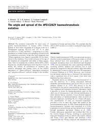 PDF) The origin and spread of the HFE-C282Y haemochromatosis mutation