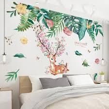 Shijuekongjian Deer Rabbit Animal Wall Stickers Diy Green Leaves Wall Decals For House Kids Rooms Baby Bedroom Decoration Aliexpress Com Imall Com