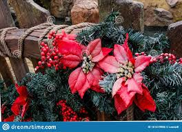 Christmas Decoration Flower And Tree On Wood Fence Closeup Stock Photo Image Of Advent Decorate 161419960