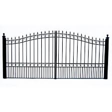 Aleko London Style 14 Ft X 6 Ft Black Steel Dual Driveway Fence Gate Dg14lond Hd The Home Depot