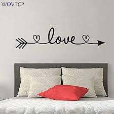 Amazon Com Wovtcp Love Arrow Wall Quote Sign Vinyl Decal Sticker Wall Lettering Faith Friends Couple Bedroom Living Family Infinite Love Big Large God Mother Kitchen Dining