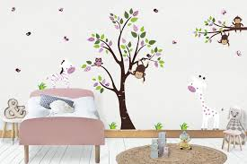 Girls Safari Wall Decals Jungle Wall Mural Purple Wall Decals Nurserydecals4you