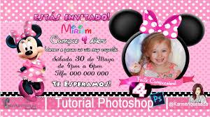 Invitacion De Cumpleanos Minnie Tutorial Photoshop Curso Candybar Karmenquesada Youtube