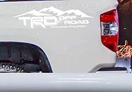 Amazon Com Coza Mountain Theme Decal Sticker Compatible With Trd Tacoma Tundra Or Any Toyota Truck Pair Set Of 2 White Automotive