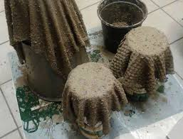 diy to create cement planter with old towel