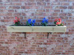 Wooden Window Box Planter With Free 8 Brackets Herb Wall Hanging Patio Depth 20 5 Cm