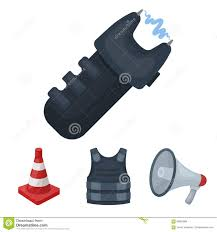 Bulletproof Vest Megaphone Cone Of Fencing Electric Shock Police Set Collection Icons In Cartoon Style Vector Symbol Stock Vector Illustration Of Municipal Shock 99005694